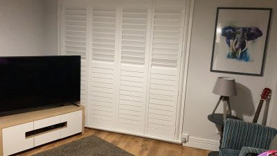White plantation shutters in Ayrshire home.