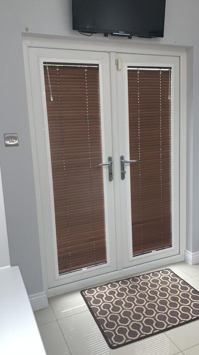 Perfect fit venetian blinds on french doors fitted in Ayrshire