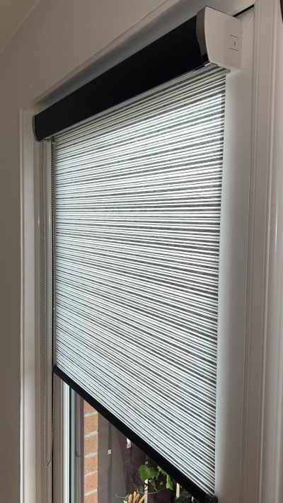 Senses Roller Blind fitted onto french doors in Ayrshire