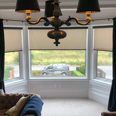 Roller Blinds fitted on a bay window in Ayrshire
