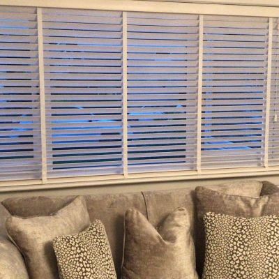 White wooden venetian blind fitted in Ayrshire
